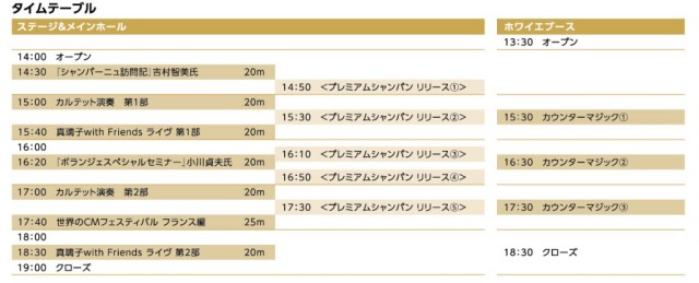 クラブ・ドゥ・シャンパーニュ福岡2014 タイムテーブル